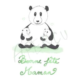 Carte fête des mères - panda